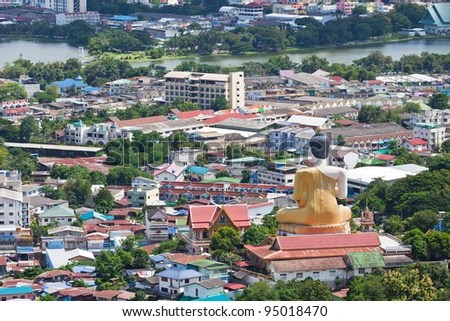 Beautiful view of the city of Nakhon Sawan Province, Thailand. - stock photo
