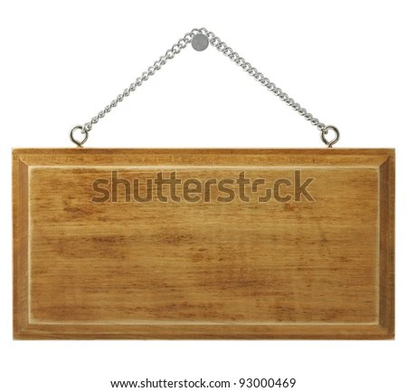 Wooden signboard isolated on white background. - stock photo
