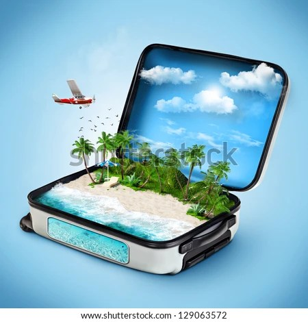 Open suitcase with a tropical island inside. Traveling - stock photo