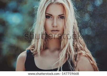 Outdoor portrait of young woman  - stock photo
