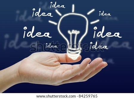 stock photo : Light bulb hand drawing in hand