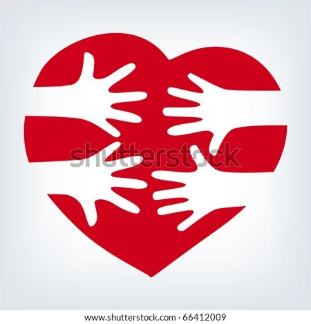 stock vector : Hands together over heart. Vector.