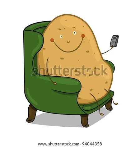 stock photo : Couch Potato illustration; Smiling potato sitting on a couch holding a remote control
