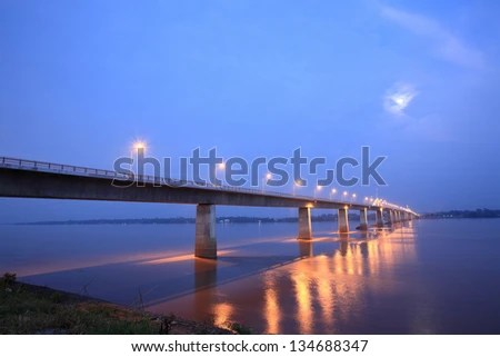 Bridge across the Mekong River. Thai-Lao friendship bridge, Thailand - stock photo