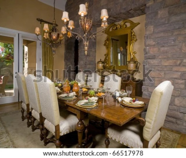Formal Dining Room Table Set For Dinner