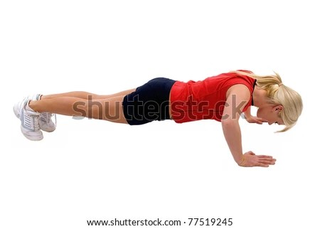 stock photo : Young blond woman doing push ups