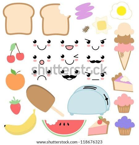 Vector Kawaii Food Set - stock vector