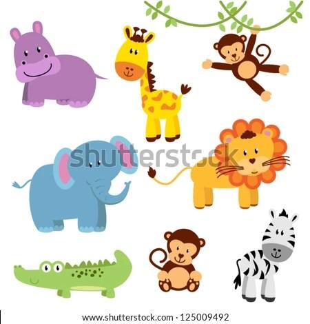 Cute Vector Set of Zoo Animals - stock vector