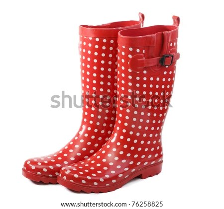 stock photo : Polka dot red rain boots