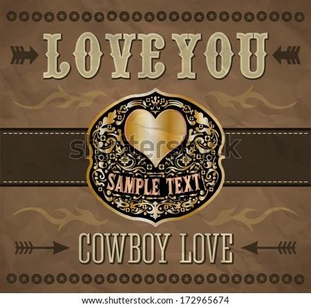 Download Love You - Cowboy Love - Belt Buckle - Vector Valentines ...