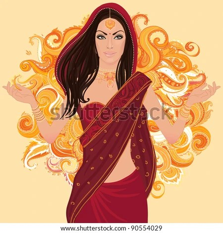 Beautiful indian brunette young woman in colorful sari. Bollywood star traditional fashion. - stock vector