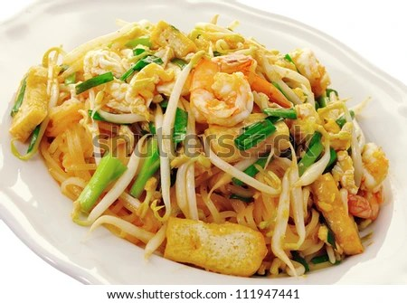 Thai food Pad thai , Stir fry noodles with shrimp - stock photo
