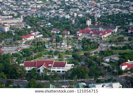 yala city pillar, thailand - bird eyes view - stock photo