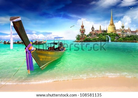 Concept travel Tropical beach, traditional long tail boats, Andaman Sea, Thailand - stock photo
