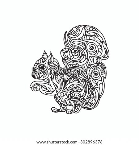 squirrel coloring page stock vector illustration 302896376