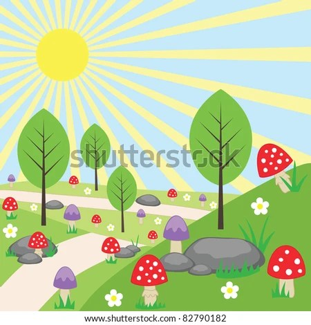 stock vector : Cartoon bright landscape