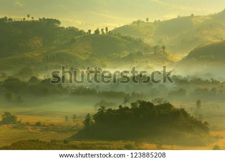 Morning mist at Phu Lang Ka, Phayao, Thailand - stock photo