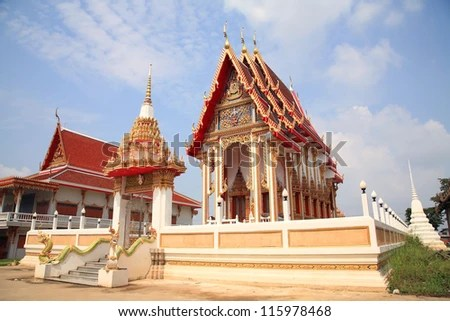 Chalerm phrakiat temple architecture against blue sky in Pathum Thani, Thailand - stock photo