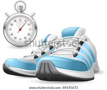 Running Shoes and stopwatch - stock vector