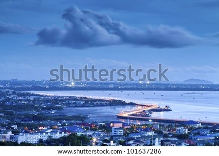 Seaview on chonburi town, Thailand, with cloud and twilight. - stock photo