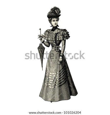 """The fashion Of 1897- Vintage engraved illustration - """"La mode illustree"""" by Firmin-Didot et Cie in 1897 France - stock vector"""