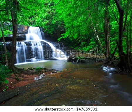 Deep forest waterfall pang sida national park sa kaeo province asia thailand - stock photo