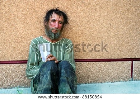 Homeless man. - stock photo