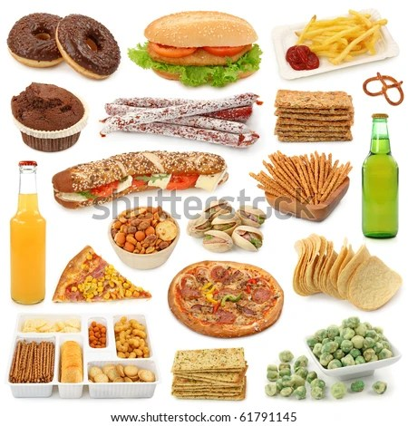 stock photo : Junk food collection isolated on white background