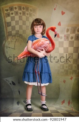 Alice trying to play croquet with flamingo - stock photo