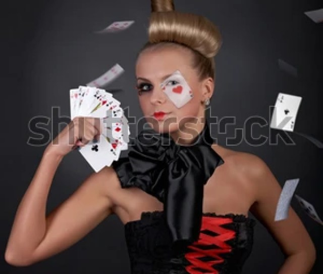 Gambling Sexy Woman With Flying Poker Cards