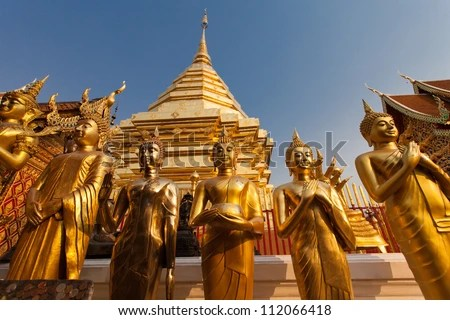 Thailand golden buddhas temple - stock photo