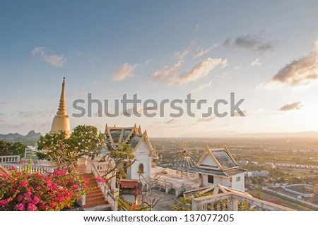 The view of the Temple at sunset, Prachuap Khiri Khan, Thailand - stock photo