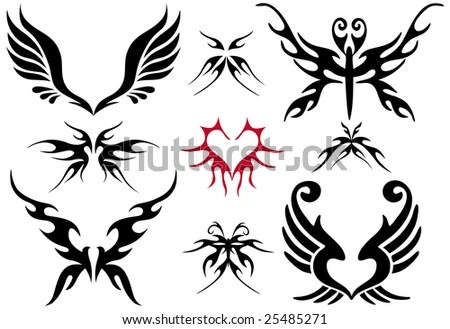 stock vector : tattoo design set, vector design elements