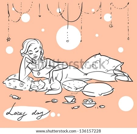 Pretty woman on a sofa or bed, Hand drawn girl with cat, relaxing and having a cup of coffee. Sketch - stock vector