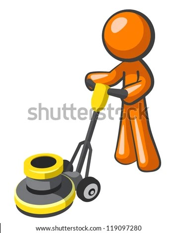 orange man buffing tile or carpet with a floor buffer stock images page everypixel