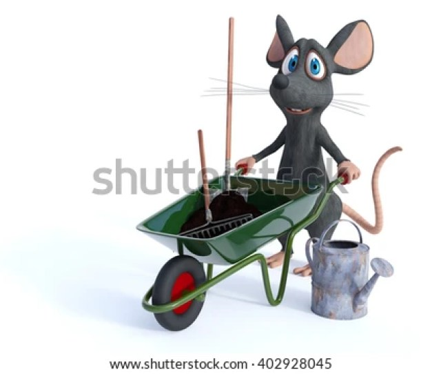 3d Rendering Of A Cute Smiling Cartoon Mouse Holding A Wheelbarrow Full Of Soil And A