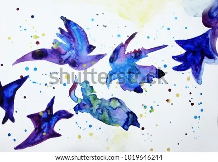 abstract birds background fly creative colorful lines background watercolor abstract art or creative