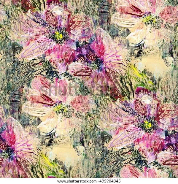 Kleiner Pfirsich Und Weisse Blumen Acrylmalerei Auf Leinwand