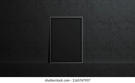 blank black paper poster mockup stand