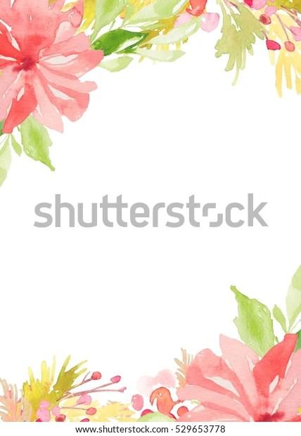 https www shutterstock com fr image illustration blank watercolor flower invitation template background 529653778