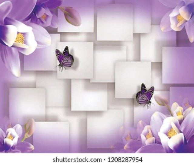 Butterflies With Violet Flowers On White Squares Background Stereoscopic 3d Image For A Wallpaper