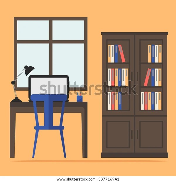 Contemporary Home Office Interior Classic Office Stock Illustration 337716941