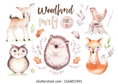 Image of: Paintings Cute Baby Fox Deer Animal Nursery Rabbit And Bear Isolated Illustration For Children Watercolor Shutterstock Watercolor Animals Images Stock Photos Vectors Shutterstock