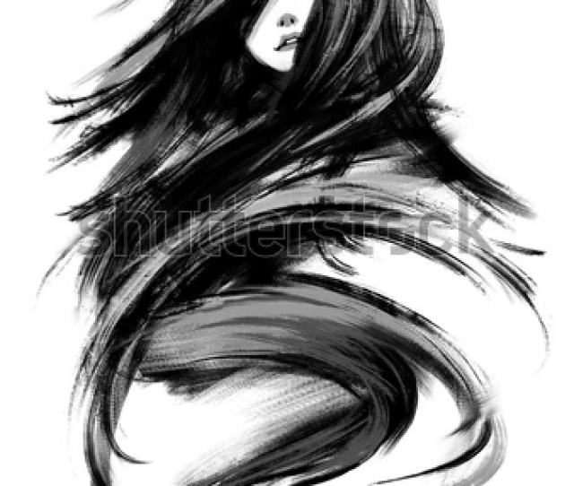 Digital Painting Of Abstract Sketched Beautiful Girl Acrylic On Canvas Texture