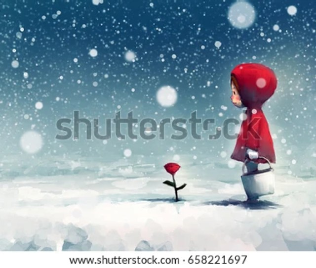 Digital Painting Of Girl On Snow Covered Park And Looking At Red Roses Story