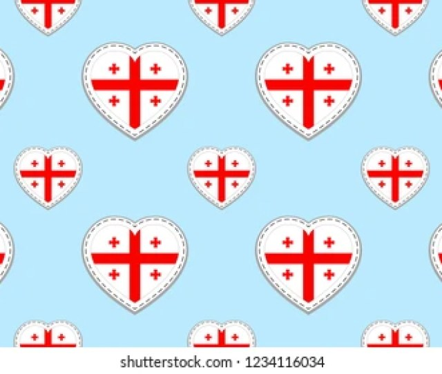 Georgia Flag Seamless Pattern Georgian Flags Stikers Love Hearts Symbols Background For Languages