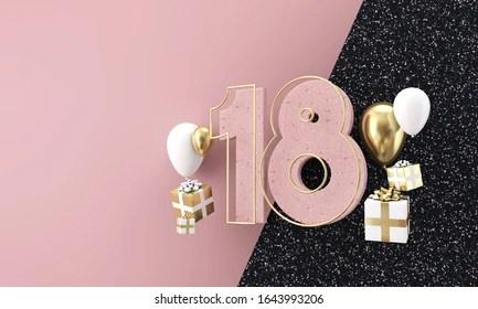 https www shutterstock com image illustration happy 18th birthday party celebration modern 1643993206