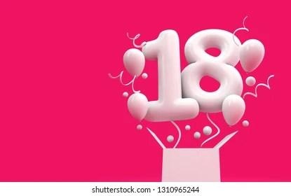 https www shutterstock com image illustration happy 18th birthday surprise balloon box 1310965244