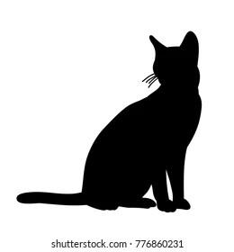https www shutterstock com image illustration isolated black silhouette cat sitting 776860231