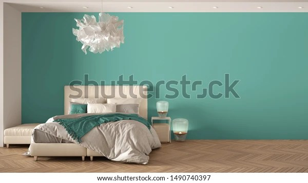 Minimalist Turquoise Background Master Bedroom Contemporary Stock Illustration 1490740397